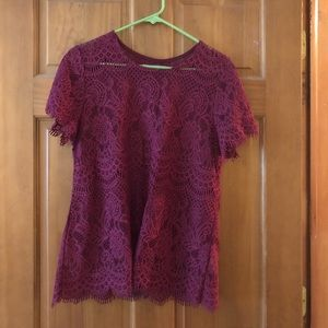 Wine colored Lace tee